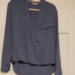 Womens blue silk blouse